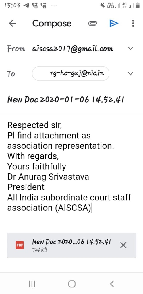 AISCSA letter to Hon'ble Chief Justice,Gujarat high court